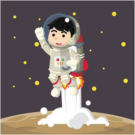 jetpack: astronaut riding jetpack cartoon illustration