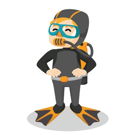 boy using diving suit