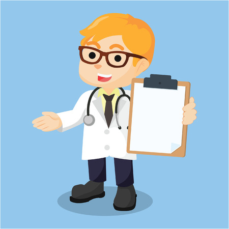 doctor holding clipboard cartoon illustration Vector Illustration