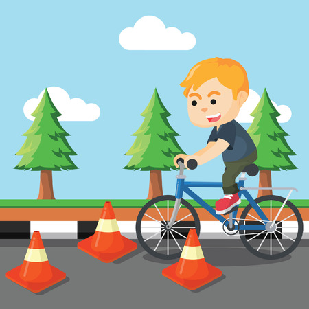 obstacle: boy riding bicycle with obstacle Illustration