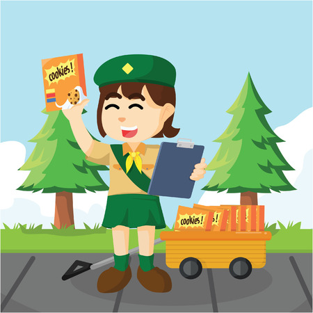 girl scout: Girl scout selling cookies