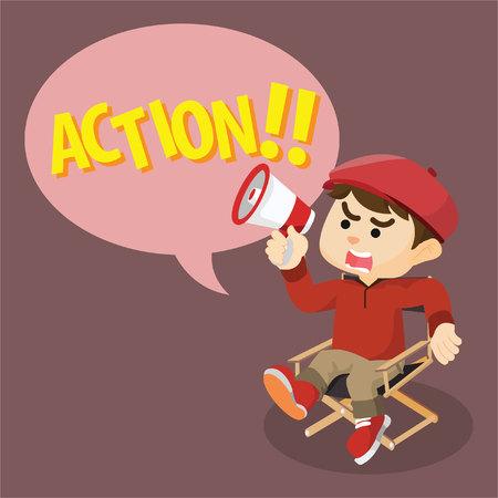 movie director: movie director yelling action Illustration