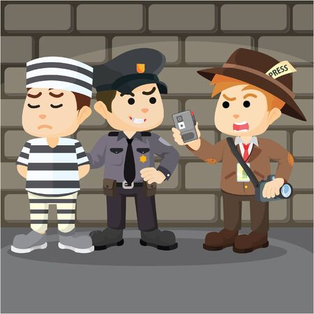 interviewed: police interviewed cartoon illustration Illustration