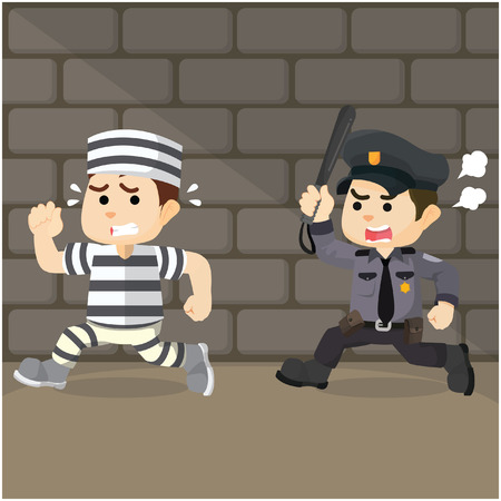 convict: police chase convict cartoon illustration
