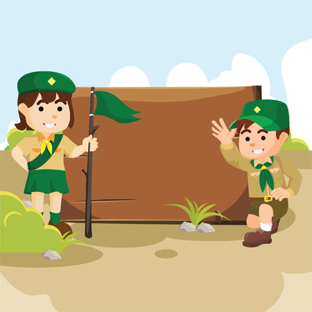 girl scout: Boy and scout girl at camp Illustration