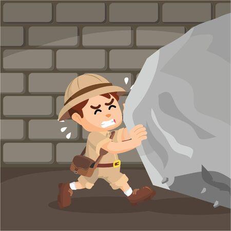 explorer: explorer pushing large rock Illustration