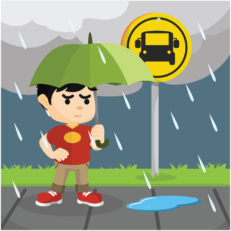 raining: child waiting bus in rain Illustration