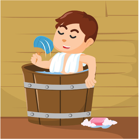 personal grooming: boy taking bath in wooden bathub