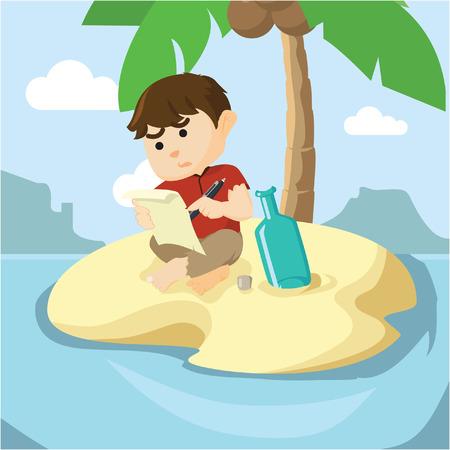 message in the bottle: boy find a message in a bottle