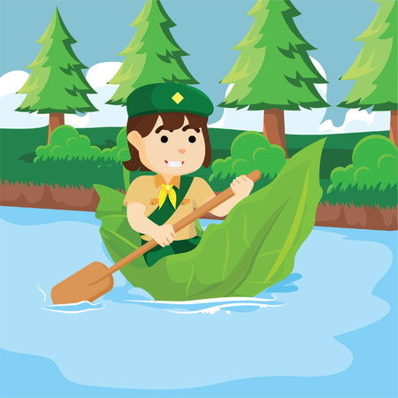 girl scout: Girl scout with giant leaf boat