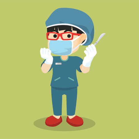 surgeon mask: Surgeon woman using mask and knife
