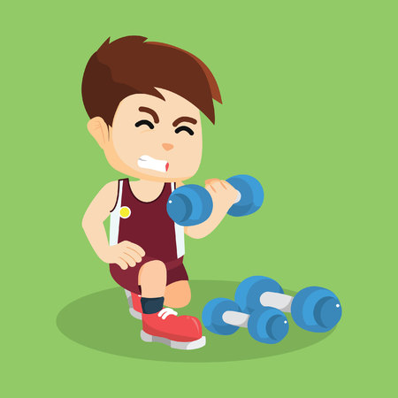 dumbell: boy exercising with dumbell