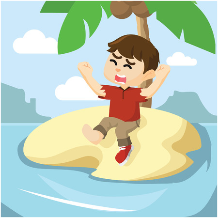 boy stranded on small island