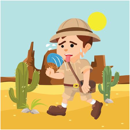boy explorer suffering from heat