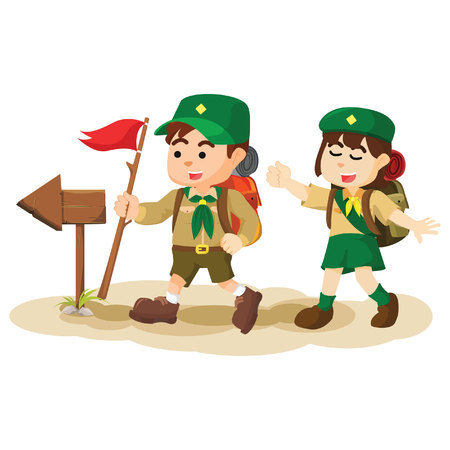 girl scout: boy and girl scout following arrowsign