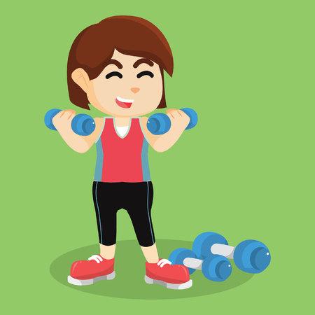 dumbell: girl exercising with dumbell Illustration