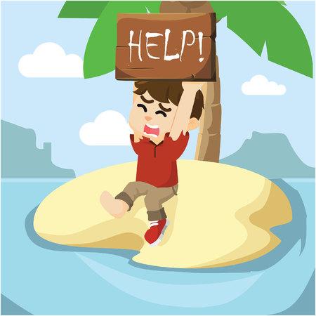 Junge gestrandet um Hilfe bitten