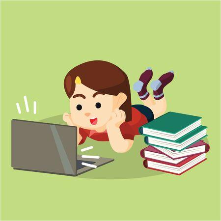girl laptop: girl studying from laptop