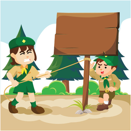 uphold: boy and girl scout uphold a sign