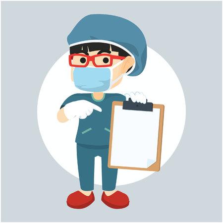 surgeon: surgeon woman showing clipboard