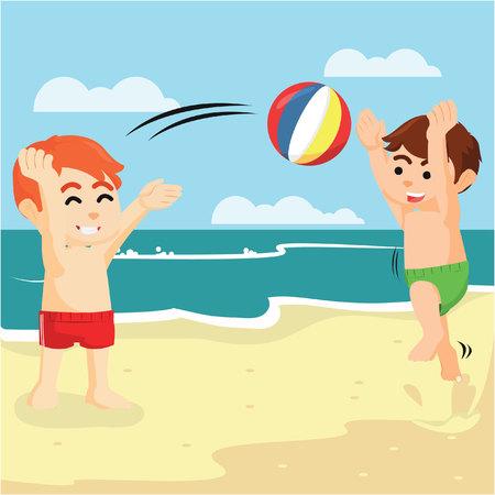 jugar a la pelota con su amigo en la playa Ilustración de vector
