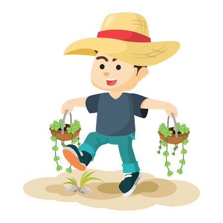 carrying: boy carrying two plant