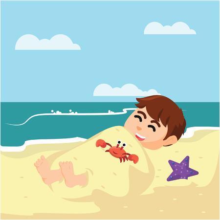 buried: boy buried in sand