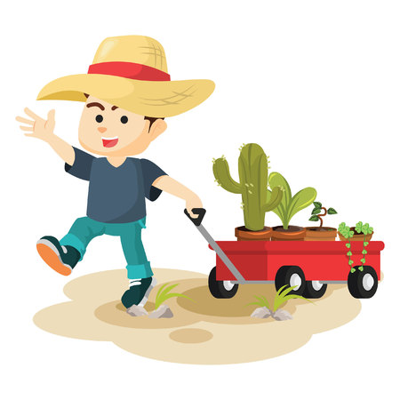 handcart: boy pulling cart full of plant Illustration