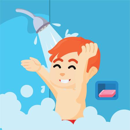 jongen nemen een bad met douche Stock Illustratie