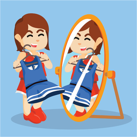 to mirror: girl looking at the mirror Illustration