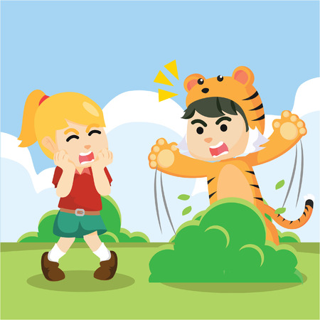 surprising: a boy wearing a tiger costume for surprising a girl