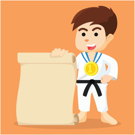 champ: boy karate champ holding paper