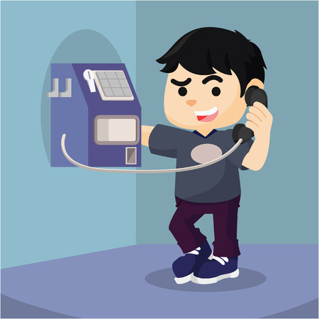 payphone: boy using payphone  cartoon illustration Illustration