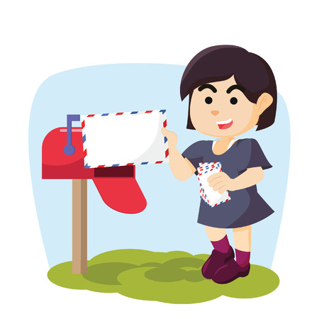 receiving: Girl receiving email cartoon illustration