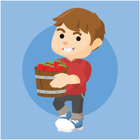picker: boy holding a bucket of strawberry