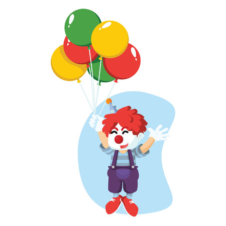 a clown was flying with balloons Ilustração Vetorial