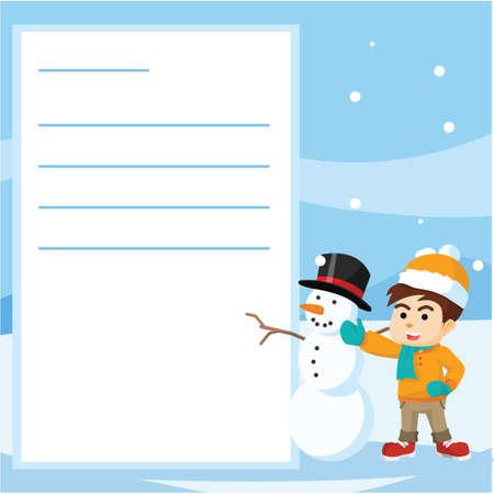 postcard: boy and snowman winter postcard