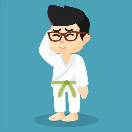 A karate player was wearing a green belt Illustration