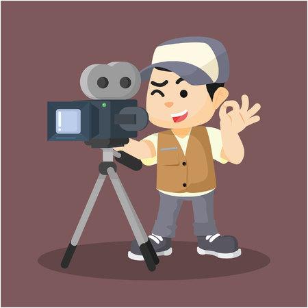 videographer: a boy movie cameraman recording Illustration