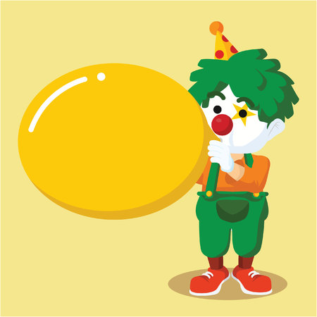 inflating: clown blowing a big balloon Illustration