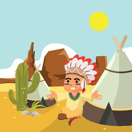 indian boy: Indian boy at desert