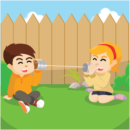 tin can phone: boy and girl communicate with string phone