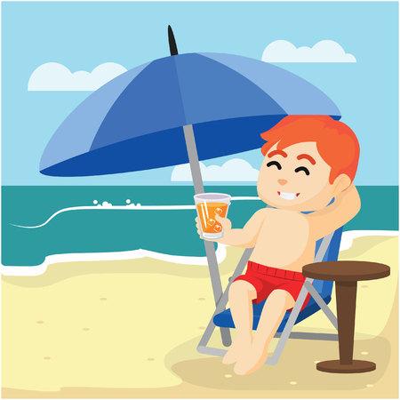 ragazzo di relax sulla spiaggia con potabile