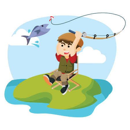 fishing lake: boy fishing a fish