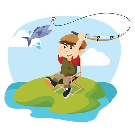 hombre pescando: ni�o pescando un pez