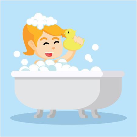 bathroom cartoon: girl in bathtub  cartoon illustration Illustration