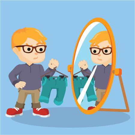 looking at mirror: a boy looking at the mirror
