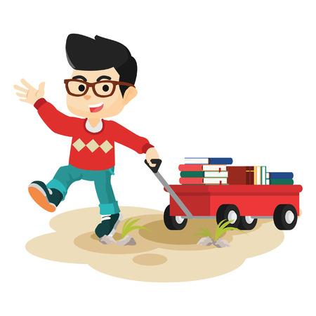 una tarjeta tirando muchacho lleno de libros Ilustración de vector
