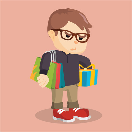 shoping bag: boy carrying shoping bag and gift Illustration
