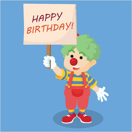 birthday party: clown holding birthday party sign